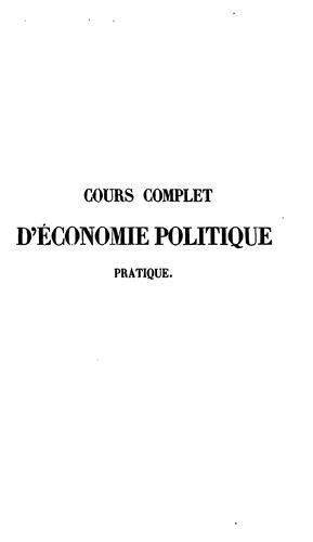 Cours complet d'économie politique pratique
