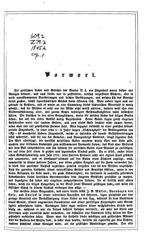 Geistliche Gedichte des Grafen von Zinzendorf