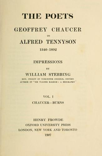 The poets: Geoffrey Chaucer to Alfred Tennyson, 1340-1892