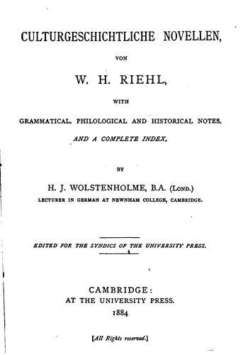 Download Culturgeschichtliche Novellen