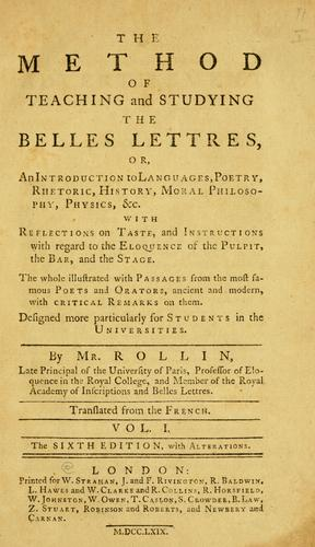 The method of teaching and studying the belles lettres