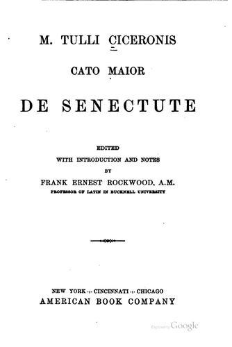 M. Tulli Ciceronis Cato maior de senectute
