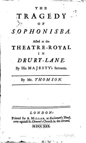 The tragedy of Sophonisba.