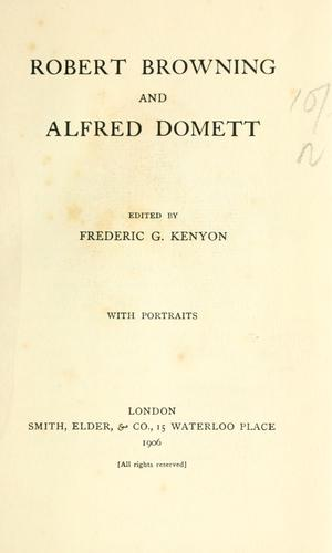 Download Robert Browning and Alfred Domett