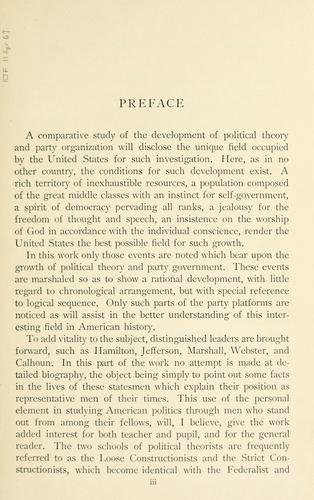 The history of political theory and party organization in the United States