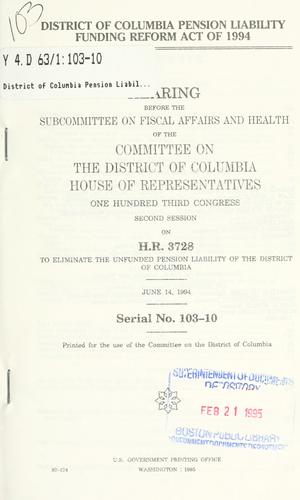 District of Columbia Pension Liability Funding Reform Act of 1994