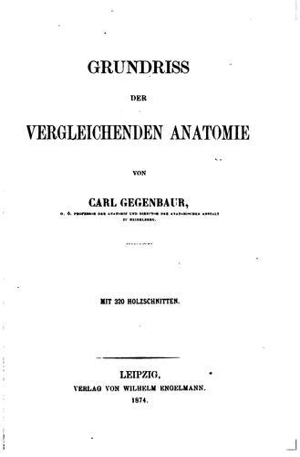 Download Grundriss der vergleichenden Anatomie