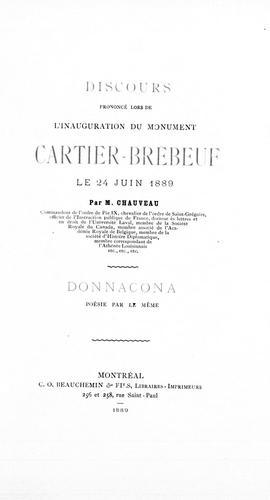 Discours prononcé lors de l'inauguration du monument Cartier-Brébeuf le 24 juin 1889
