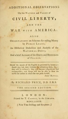 Download Additional observations on the nature and value of civil liberty, and the war with America