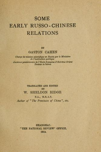 Download Some early Russo-Chinese relations