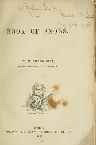 The book of snobs.