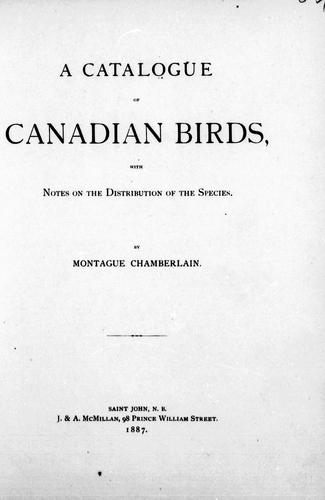 A catalogue of Canadian birds