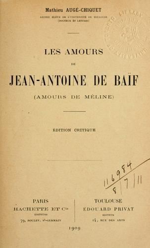 Les amours de Jean-Antoine de Baïf