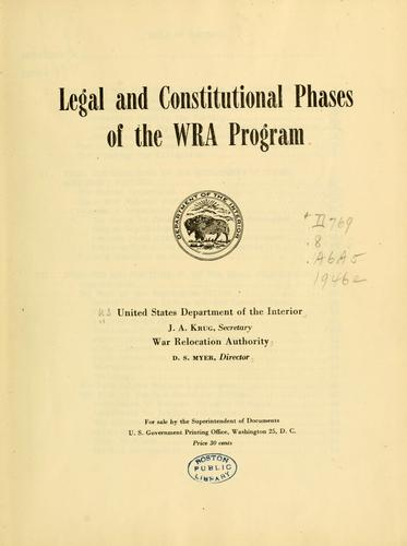 Download Legal and constitutional phases of the WRA program.