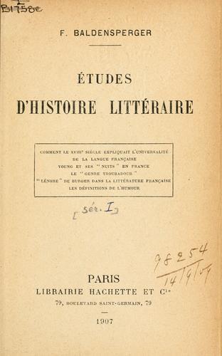 Études d'histoire littéraire.