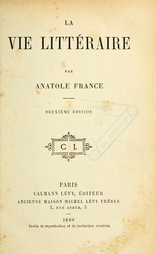 Download La vie littéraire