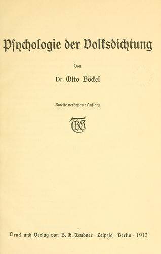 Download Psychologie der Volksdichtung.