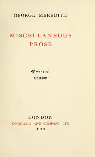 Download Miscellaneous prose.