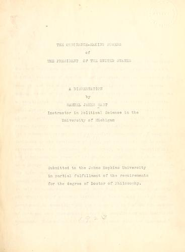 Download The ordinance-making powers of the president of the United States …