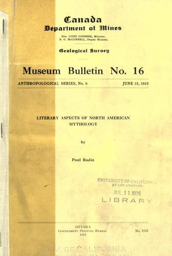 Literary aspects of North American mythology.