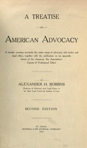 Download A treatise on American advocacy