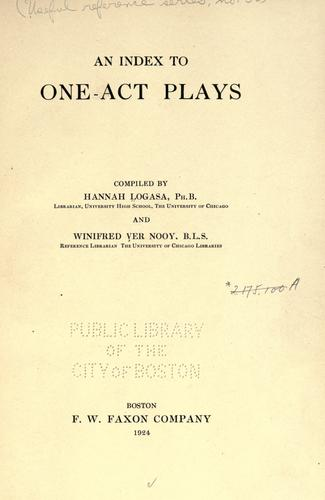 Download An index to one-act plays
