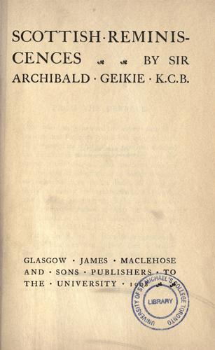 Scottish reminiscences
