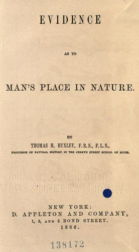 Download Evidence as to man's place in nature.