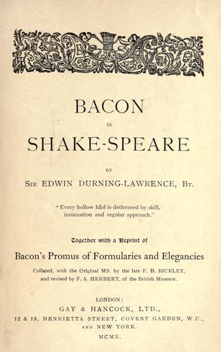 Download Bacon is Shakespeare