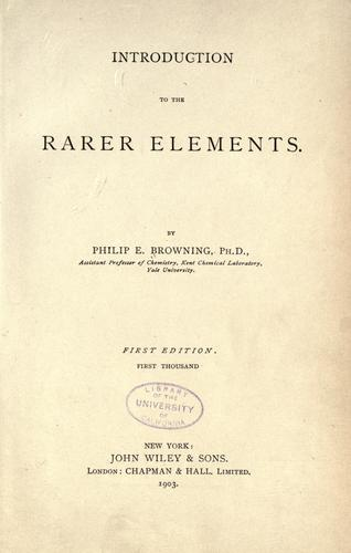 Download Introduction to the rarer elements.