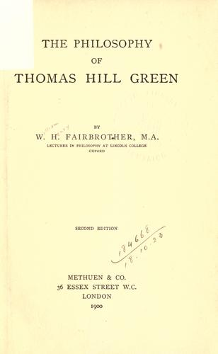 Download The philosophy of Thomas Hill Green.