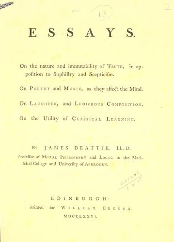 Essays by James Beattie
