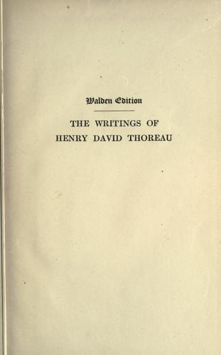 Download The writings of Henry David Thoreau.