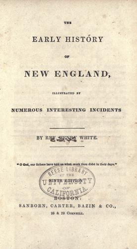 The early history of New England