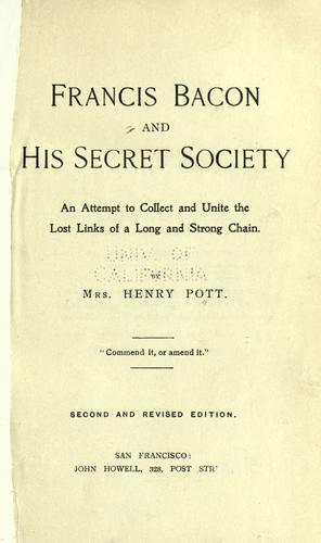 Download Francis Bacon and his secret society.