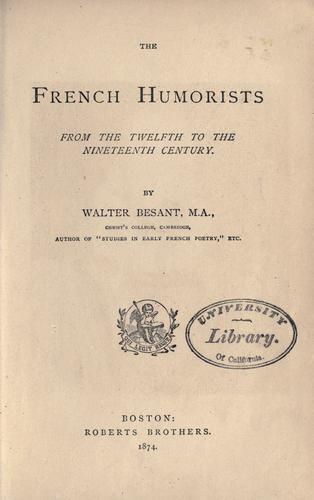 The French humorists from the twelfth to the nineteenth century.