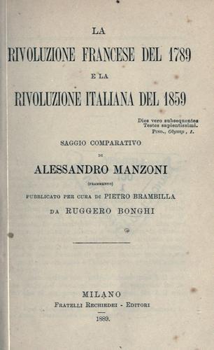 La rivoluzione francese del 1789 e la rivoluzione italiana del 1859