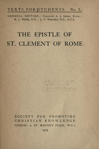 The epistle of St. Clement of Rome.
