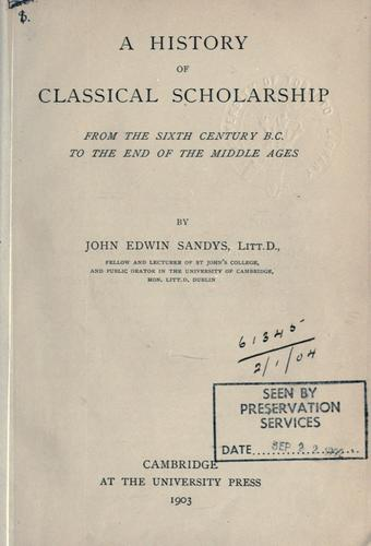 Download A history of classical scholarship …