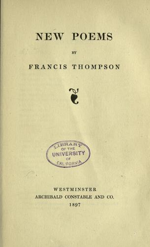 New poems by Thompson, Francis