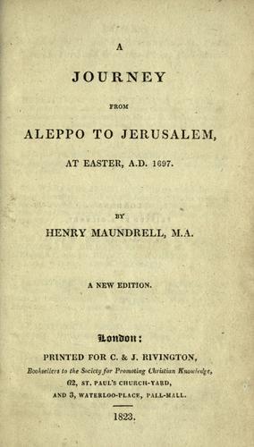 A journey from Aleppo to Jerusalem