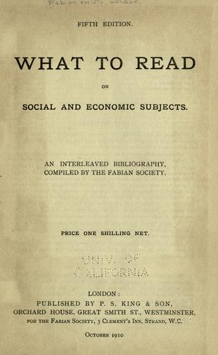 What to read on social and economic subjects.