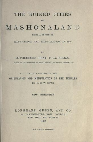 The ruined cities of Mashonaland