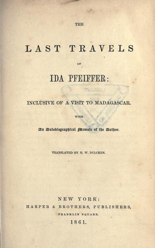 The last travels of Ida Pfeiffer