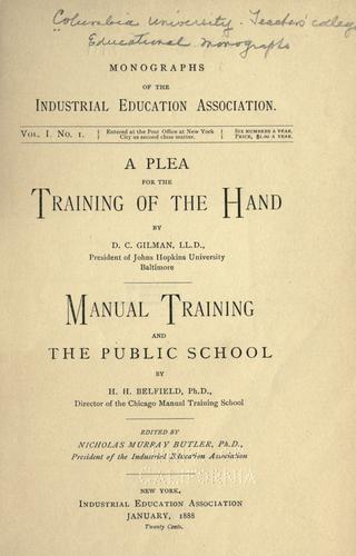 Download A plea for the training of the hand