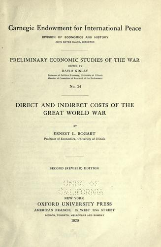 Direct and indirect costs of the great world war