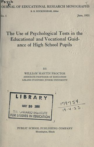 Download The use of psychological tests in the educational and vocational guidance of high school pupils