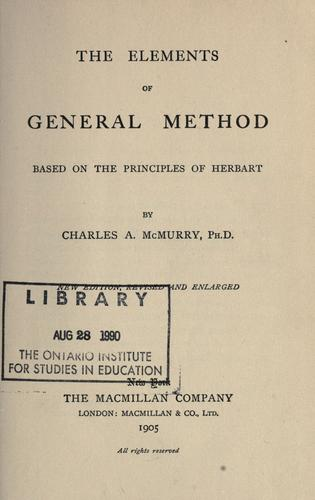 Download The elements of general method
