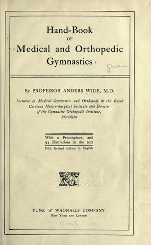 Download Hand-book of medical and orthopedic gymnastics