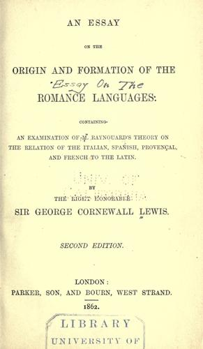Download An essay on the origin and formation of the Romance languages.